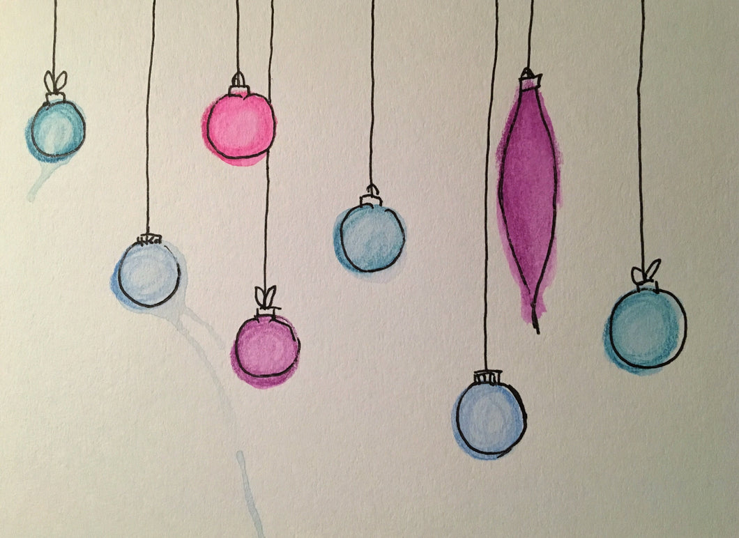 Christmas Card - Purple, Pink and Jade Baubles - eDgE dEsiGn London