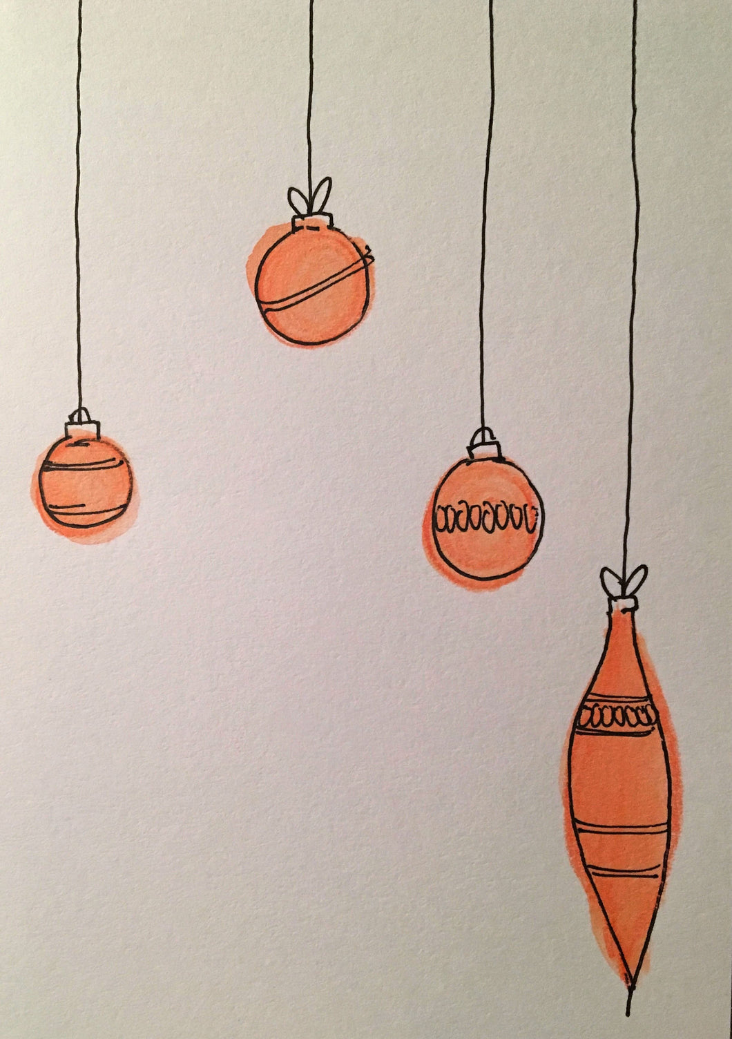 Christmas Card - Red Pattern Baubles - eDgE dEsiGn London