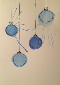 Christmas Card - Blue Splatter Baubles - eDgE dEsiGn London