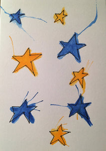 Christmas Card - Yellow and Blue Stars - eDgE dEsiGn London