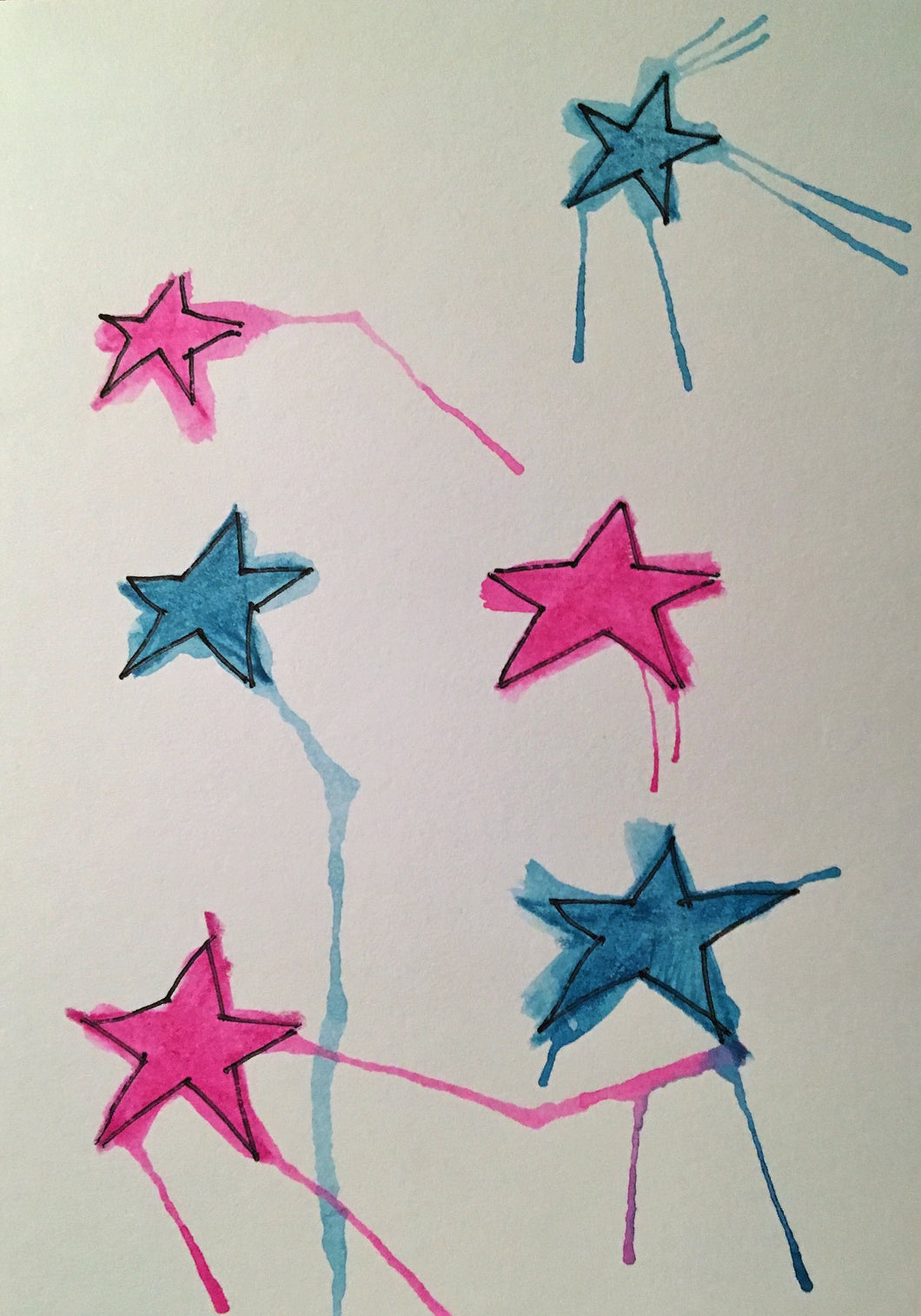 Christmas Card - Pink and Jade Stars - eDgE dEsiGn London