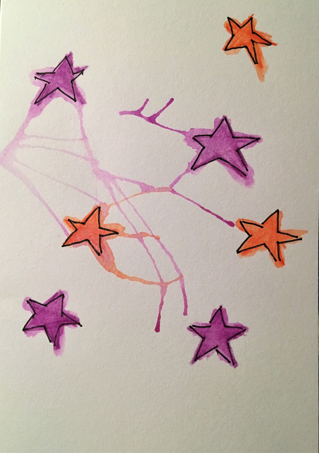 Christmas Card - Purple and Orange Stars - eDgE dEsiGn London