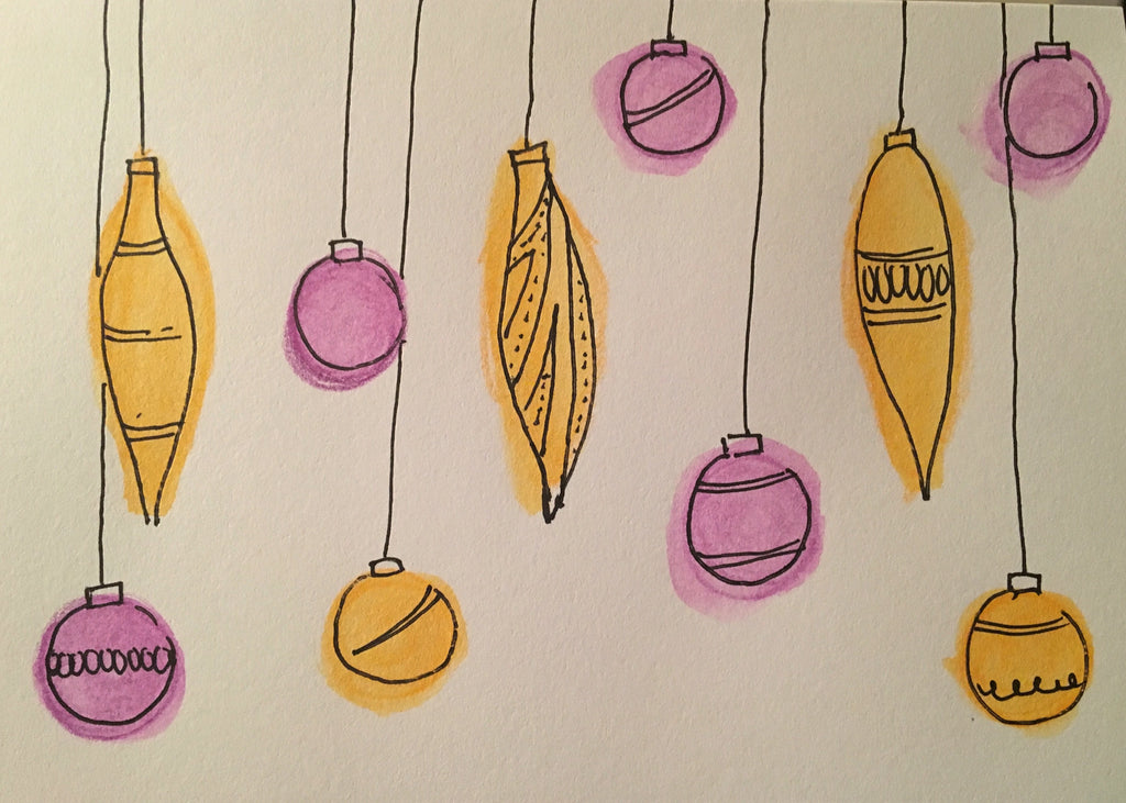Christmas Card - Yellow and Purple Pattern Baubles - eDgE dEsiGn London