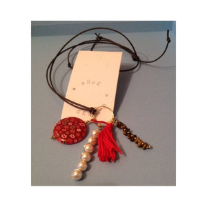 Leather Necklace with Pendants - Millefiori, Pearls, Tigers Eye and Tassel - eDgE dEsiGn London