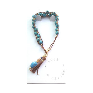 Hand Stitched Beaded Bracelet - Turquoise and brown beads - eDgE dEsiGn London
