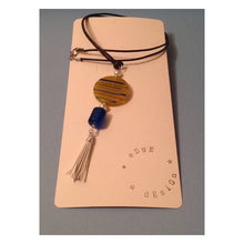 Yellow/Blue Millefiori, Blue Glass and White Tassel Pendant Necklace - eDgE dEsiGn London