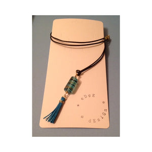 Turquoise Glass and Tassel Pendant on Brown Leather Necklace - eDgE dEsiGn London