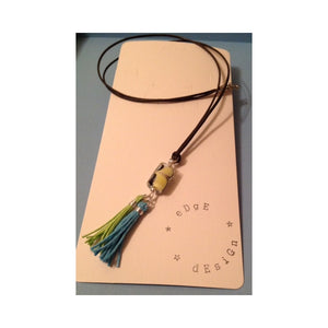 Necklace with Venetian Glass Yellow/Blue/Green Pendant with Tassels - eDgE dEsiGn London