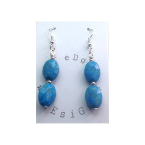 Turquoise Bead Drop Earrings - Silver plated - eDgE dEsiGn London