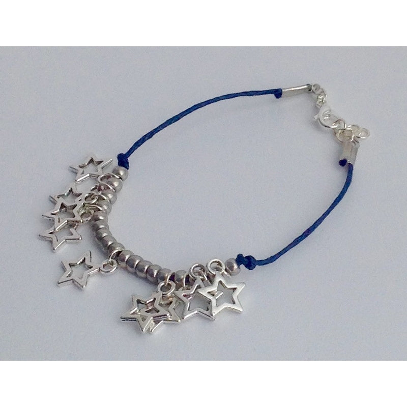Navy Cord Bracelet with Silver beads and star pendants - eDgE dEsiGn London