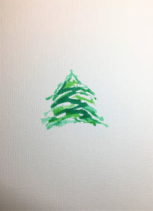 Original Hand Painted Christmas Card - Small Green Abstract Tree - eDgE dEsiGn London