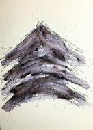 Original Hand Painted Christmas Card -Black and Grey Abstract Tree - eDgE dEsiGn London