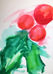 Original Hand Painted Christmas Card - Abstract Red and Green Holly - eDgE dEsiGn London
