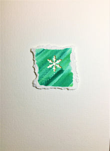 Original Hand Painted Christmas Card - Snowflake Collection - Green 3 - eDgE dEsiGn London