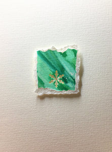 Original Hand Painted Christmas Card - Snowflake Collection - Green 4 - eDgE dEsiGn London