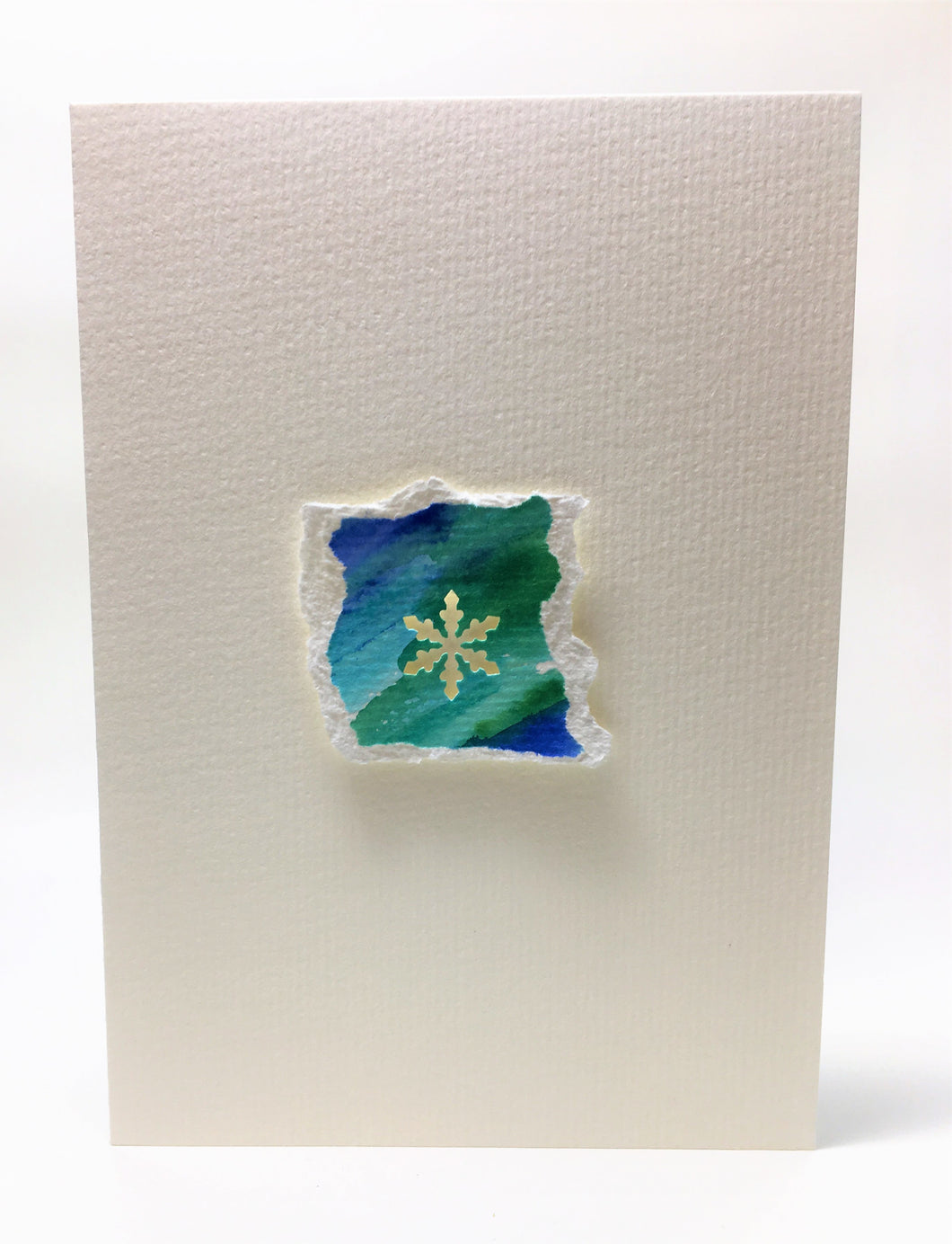 Original Hand Painted Christmas Card - Snowflake Collection - Blue/Green 1 - eDgE dEsiGn London