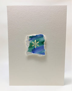 Original Hand Painted Christmas Card - Snowflake Collection - Blue/Green 2 - eDgE dEsiGn London