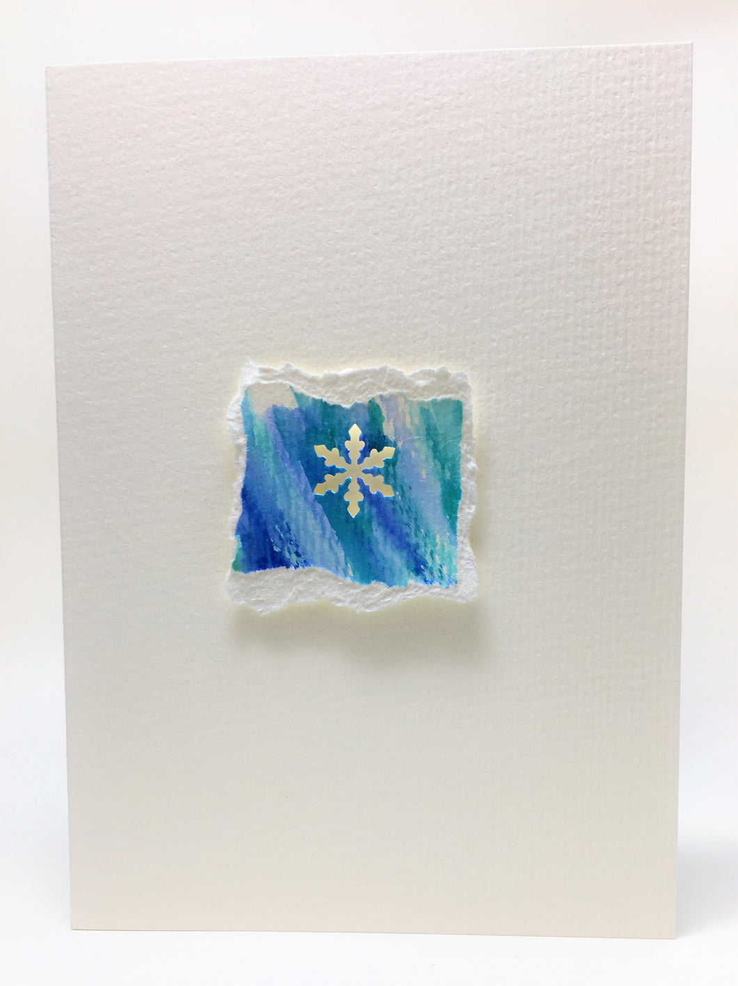 Original Hand Painted Christmas Card - Snowflake Collection - Blue/Green 3 - eDgE dEsiGn London