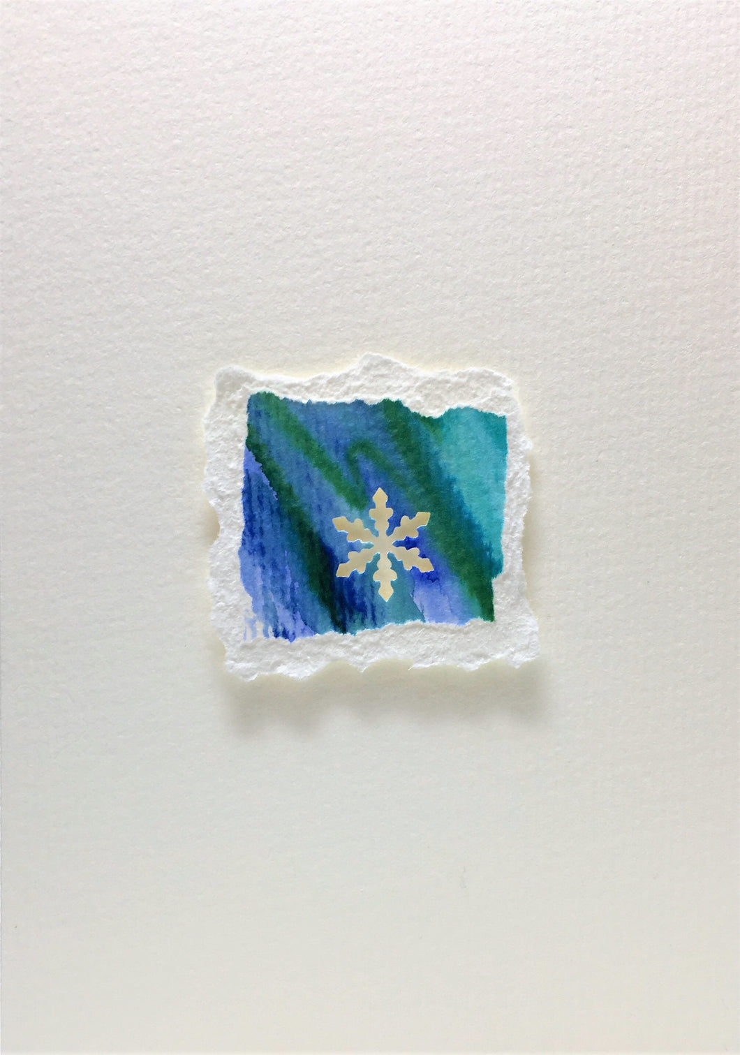 Original Hand Painted Christmas Card - Snowflake Collection - Blue/Green 4 - eDgE dEsiGn London