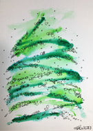 Original Hand Painted Christmas Card - Abstract Green Christmas Tree Circle Design - eDgE dEsiGn London