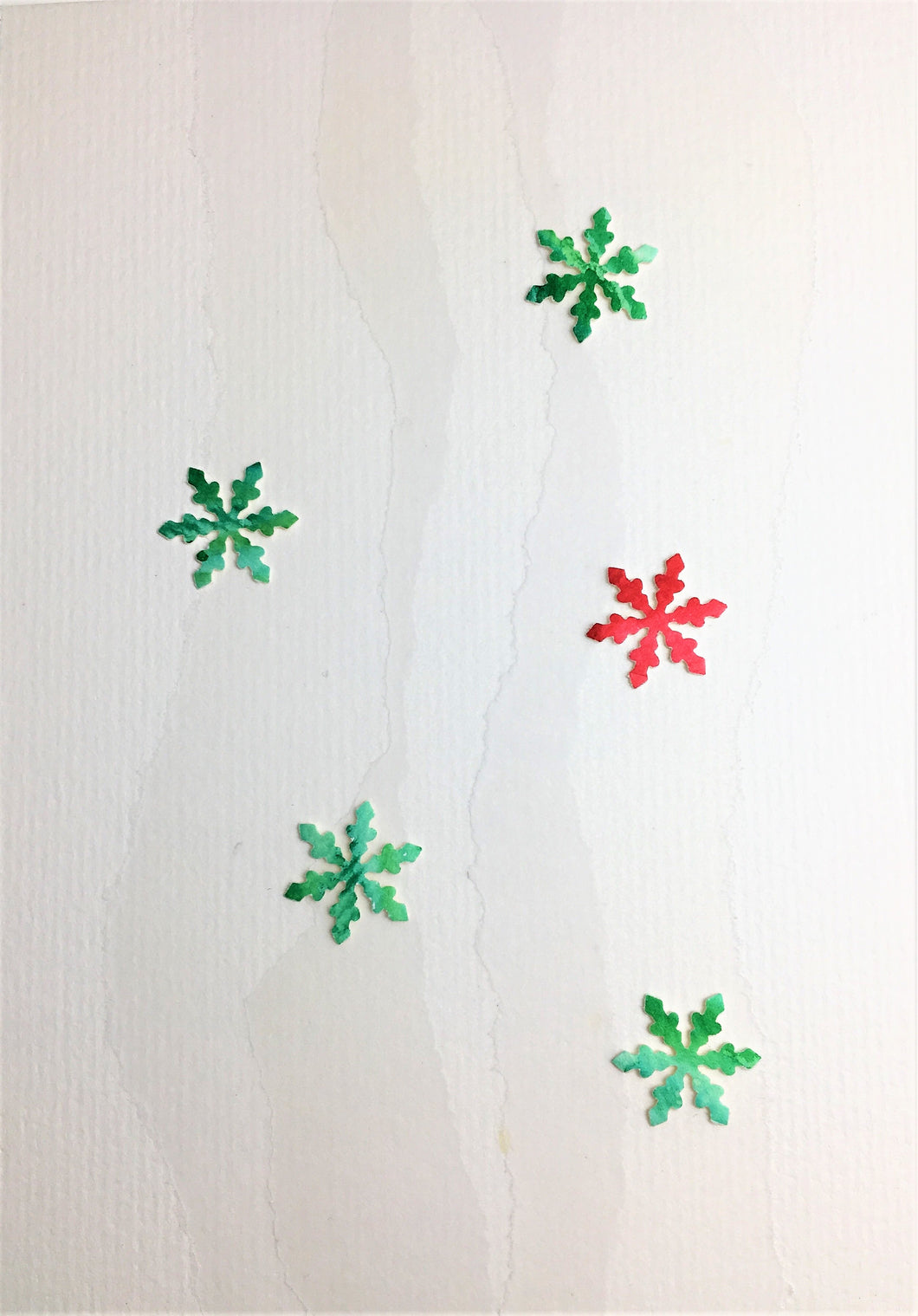 Original Hand Painted Christmas Card - Snowflake Collection - Green and Red - eDgE dEsiGn London
