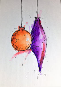 Original Hand Painted Christmas Card - Bauble Collection - Abstract Orange/Purple