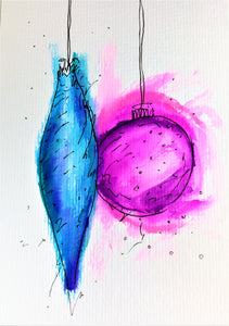 Original Hand Painted Christmas Card - Bauble Collection - Abstract Blue/Pink - eDgE dEsiGn London