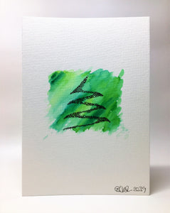 Original Hand Painted Christmas Card - Green Abstract Circle Tree Design - eDgE dEsiGn London