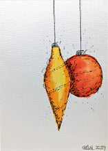 Original Hand Painted Christmas Card - Bauble Collection - Abstract Yellow/Red/Orange - eDgE dEsiGn London