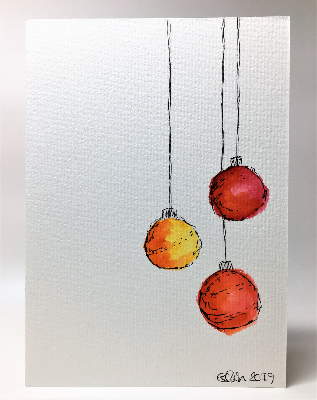 Original Hand Painted Christmas Card - Bauble Collection - Abstract Red/Orange/Yellow - eDgE dEsiGn London