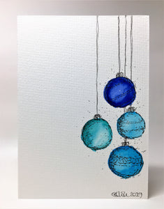 Original Hand Painted Christmas Card - Bauble Collection - Abstract Navy/Jade/Blue - eDgE dEsiGn London