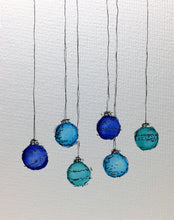 Original Hand Painted Christmas Card - Bauble Collection - Small Abstract Navy, Jade, Blue - eDgE dEsiGn London