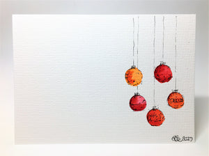 Original Hand Painted Christmas Card - Bauble Collection - Red and Orange - eDgE dEsiGn London