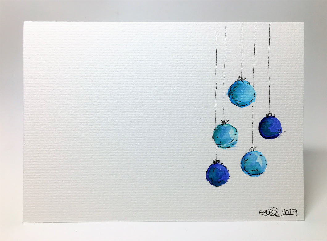 Original Hand Painted Christmas Card - Bauble Collection - Blue, Teal and Turquoise - eDgE dEsiGn London