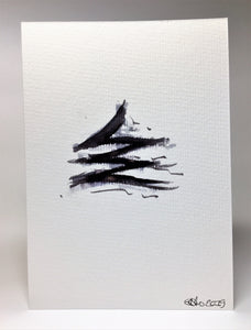 Original Hand Painted Christmas Card - Tree Collection - Black Abstract - eDgE dEsiGn London