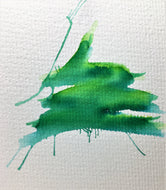 Original Hand Painted Christmas Card - Tree Collection - Green Splatter #3 - eDgE dEsiGn London