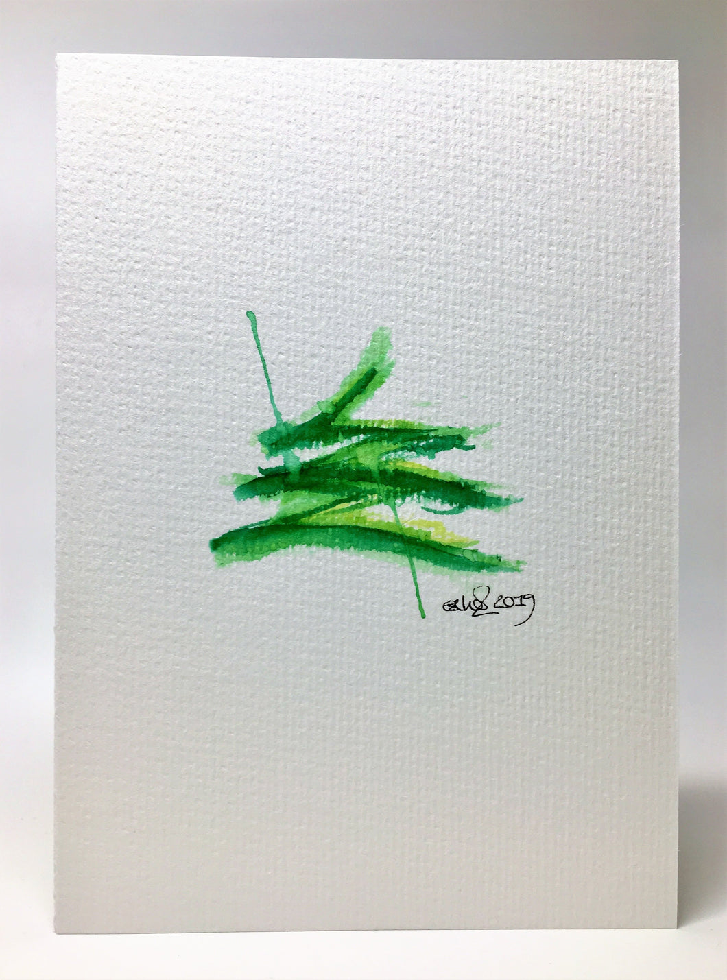 Original Hand Painted Christmas Card - Tree Collection - Green Splatter #4 - eDgE dEsiGn London