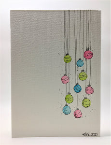 Original Hand Painted Christmas Card - Bauble Collection - Pink, Lime Green and Turquoise - eDgE dEsiGn London