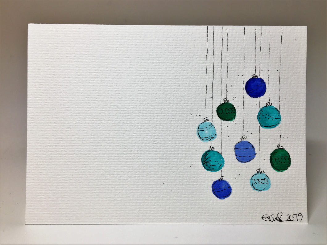 Original Hand Painted Christmas Card - Bauble Collection - Blue, Turquoise, Teal and Green - eDgE dEsiGn London