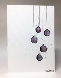 Original Hand Painted Christmas Card - Bauble Collection - Black and Grey - eDgE dEsiGn London