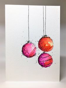 Original Hand Painted Christmas Card - Bauble Collection - Orange, Yellow and Pink - eDgE dEsiGn London