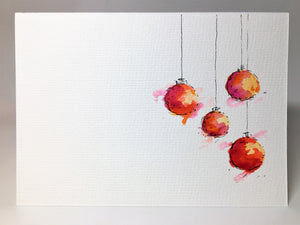 Original Hand Painted Christmas Card - Bauble Collection - Yellow, Orange and Pink - eDgE dEsiGn London