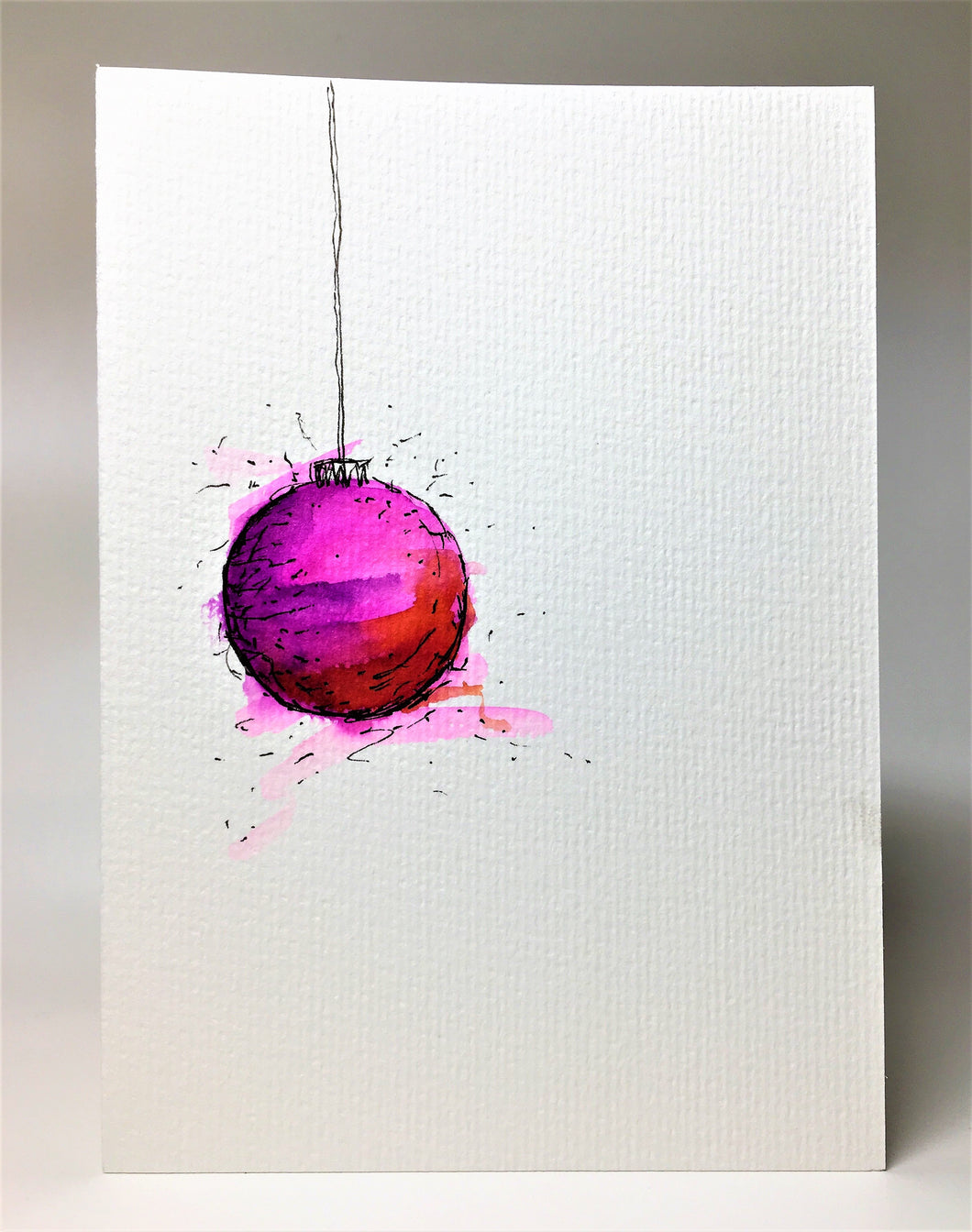 Original Hand Painted Christmas Card - Bauble Collection - Pink, Red and Purple - eDgE dEsiGn London