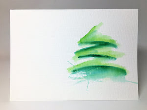 Original Hand Painted Christmas Card - Tree Collection - Green Abstract - eDgE dEsiGn London