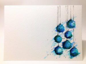Original Hand Painted Christmas Card - Bauble Collection - Jade, Turquoise and Blue - eDgE dEsiGn London