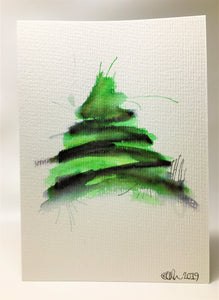 Original Hand Painted Christmas Card - Tree Collection - Green & Black Splatter - eDgE dEsiGn London