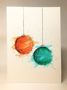 Original Hand Painted Christmas Card - Bauble Collection - Orange, Green and Turquoise - eDgE dEsiGn London