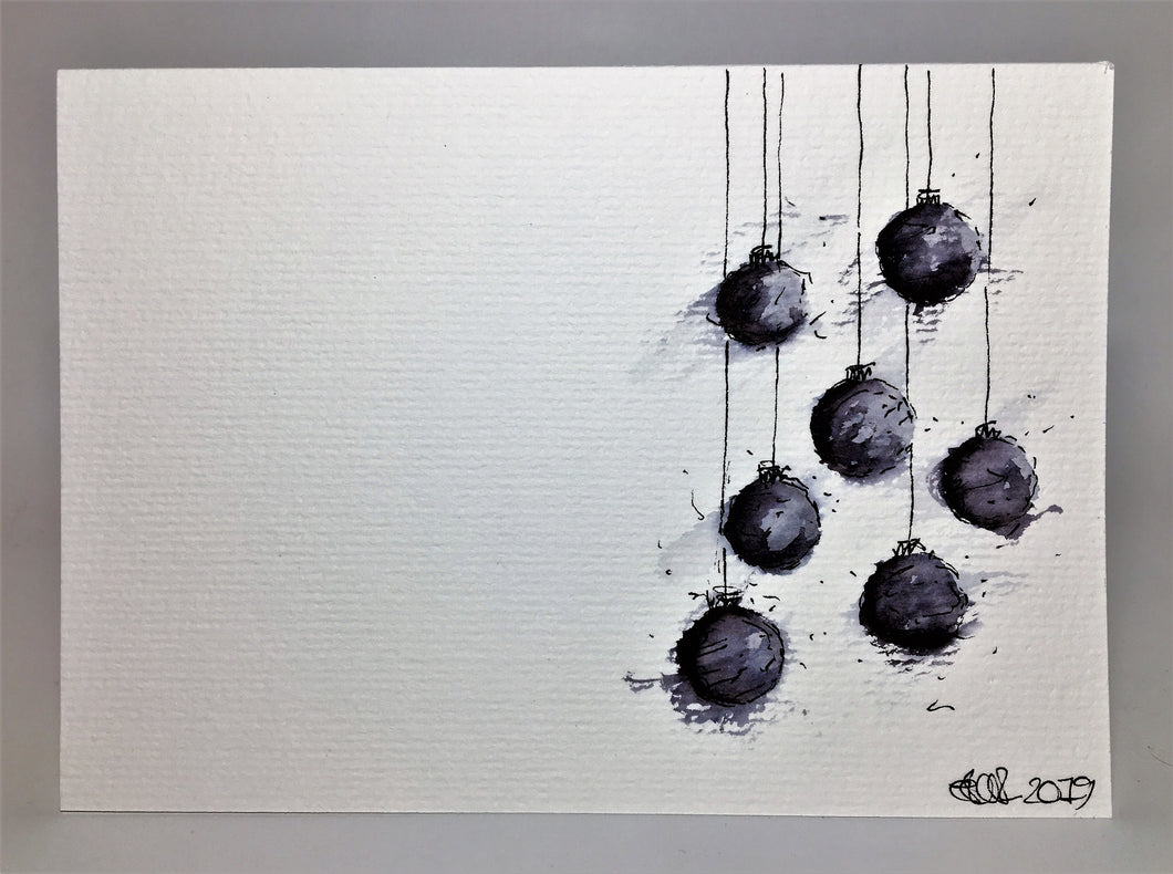 Original Hand Painted Christmas Card - Bauble Collection - Grey and Black abstract - eDgE dEsiGn London