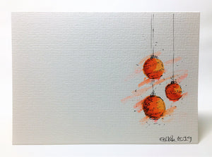 Original Hand Painted Christmas Card - Bauble Collection - Red, Orange and Yellow - eDgE dEsiGn London