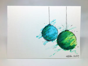 Original Hand Painted Christmas Card - Bauble Collection - Green, Jade and Turquoise - eDgE dEsiGn London